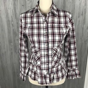 Milly USA Design S plaid ruffle button up